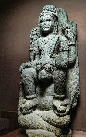 Pacific Asia Museum: Vishnu Seated on Garuda from central Java 8th-9th century CE Volcanic Stone