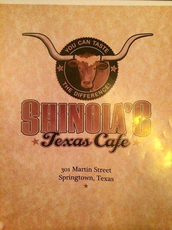 Shinola's Texas Cafe: Front of Menu