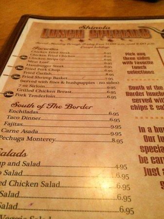 Shinola's Texas Cafe: Lunch menu