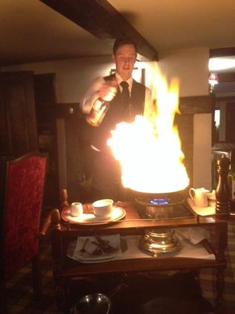 Nailcote Hall Hotel and Golf Club : steak diane flambed at table
