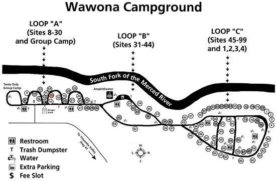 Wawona Campground : MAPA DEL CAMPAMENTO