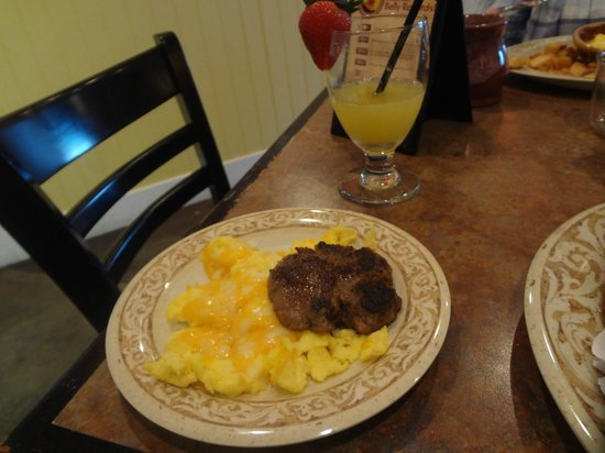 Another Broken Egg Cafe: sausage and scrambled eggs and mimosa