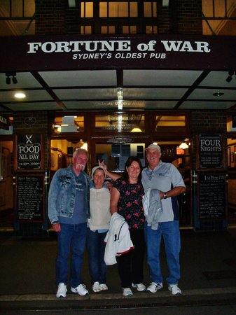 Sydney Pub Tours: Paul, Jenny, Marj & Brian outside Fortune of War Pub