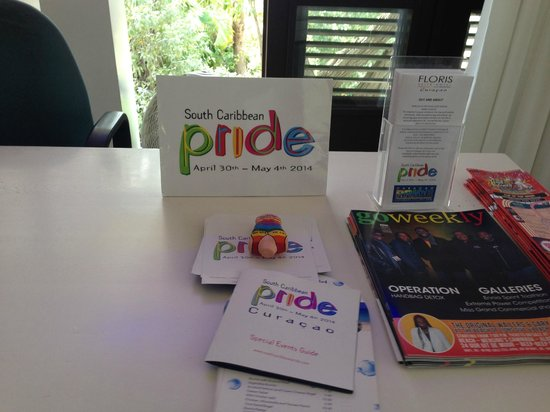 Floris Suite Hotel - Spa & Beach Club: Pride fliers in the lobby.