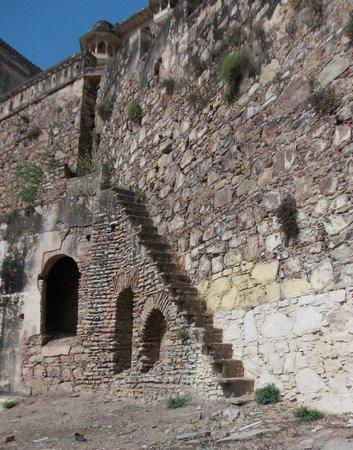 Garh Palace: On the way up, beautiful stonework.