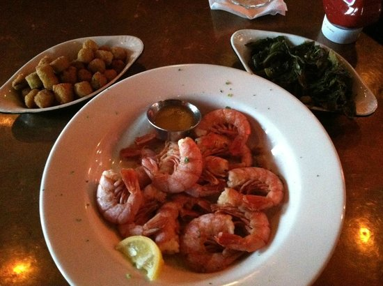 Half Shell Oyster House: Ruby reds with turnip greens and fried okra