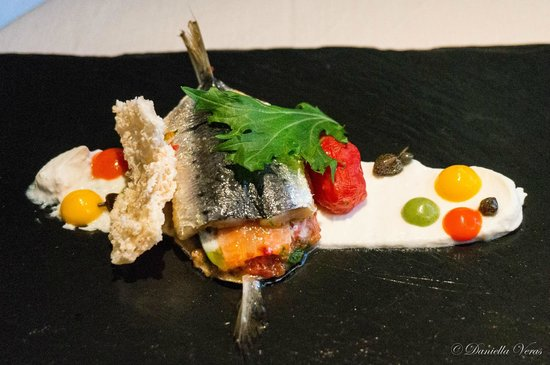 """Il Ridotto : Sardine Sandwich with """"Panzanella"""" Vegetable served with Ricotta cheese and Candied Capers"""