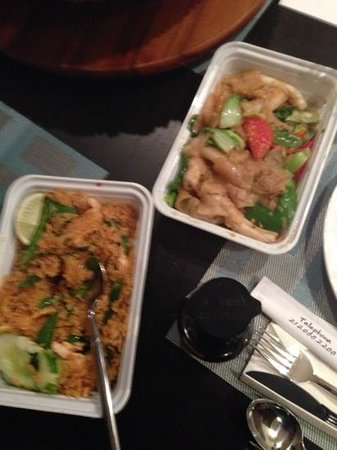 Pure Thai Cookhouse: pad kee mao on the right, jungle curry chick on the left