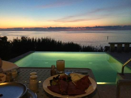 Cambridge Beaches: Room service at our infinity pool outside our door