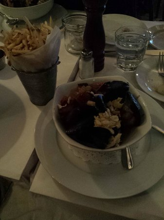 "Moules frites ""meet in Paris""  style with bacon, crab and tomatoes"