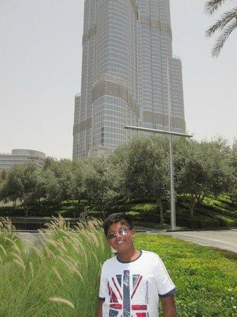 Burj Khalifa: My son Mithu In front of Burj Kalifa Hotel, Dubai !!!