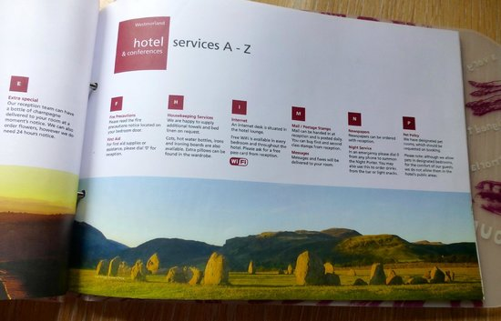 Tebay Services Hotel: A page in the brochure
