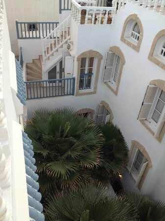 Riad Baladin: a view from the terrace down to rooms...