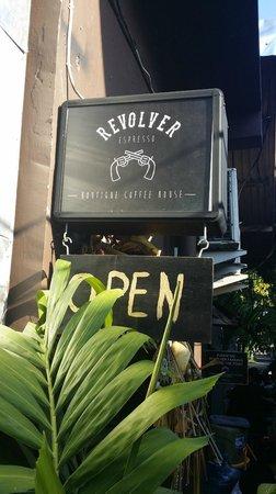 Revolver Espresso: Signage along the alleyway