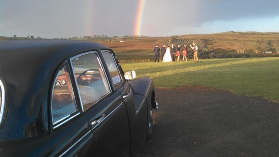 Daisy's Vintage & Classic Car Tours: Wedding with rain and rainbows
