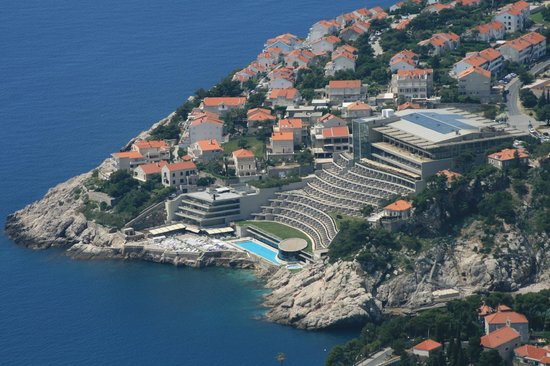 Rixos Hotel Libertas: view of hotel from top of cable car
