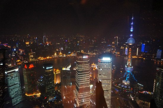 Cloud 9 (Grand Hyatt Shanghai): View at night on the Pearl side