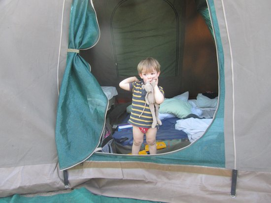 Audi Camp: Max emerges from our tent