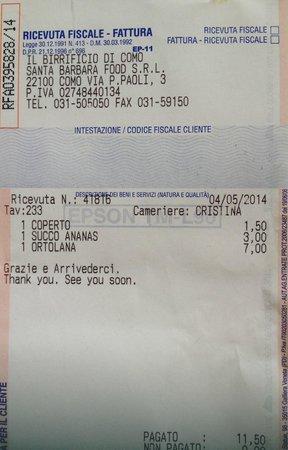 Il Birrificio di Como: Receipt 2