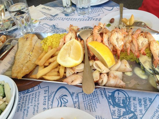 Ocean Basket : Fish, prawns, calamari and mussels plate - enough for two people - Starboard Platter I think