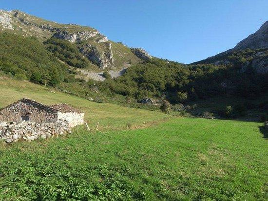 Valle del Lago, España: Todo el valle lleno de verdes praderas