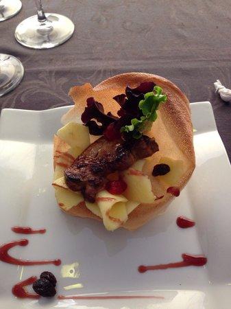 Restaurante de Fabula Mediterranea : Dit is een ganzenlever-amuse bij De Fabula!!  Nummer 1 van Playa de Aro van de 69 restaurants!!!