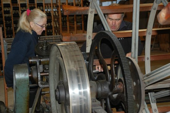 Sjolingstad Woollen Mill: Gunnveig and Einar are preparing warp to the loom