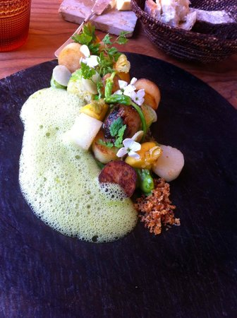 Naturell: Vegetarian entre with root vegetables, asparagus foam, edible flowers