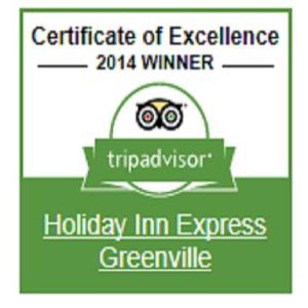 Holiday Inn Express Greenville: 2014 Trip Advisor Certificate of Excellence Winner