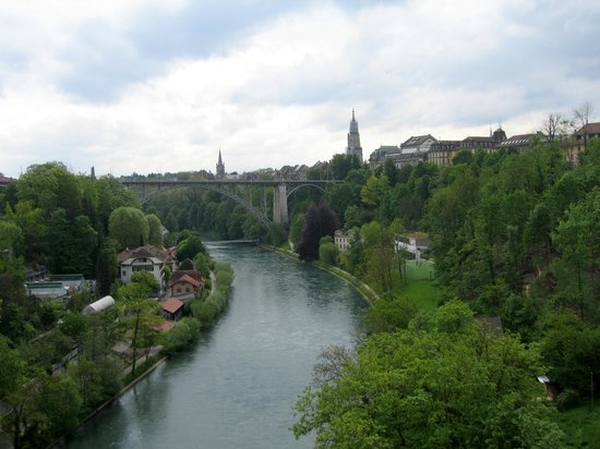 Old Town Bern: View on Berne from one of the high bridges