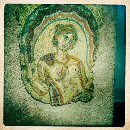 Musee Saint-Raymond - Musee des Antiques de Toulouse : ino's Mosaic - Fragment de mosaique : Ino (Dotô), découverte dans une villa romaine de Saint-Rus