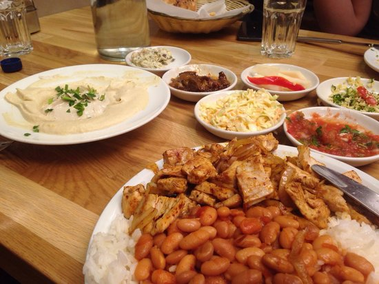 Sima's Restaurant: Grilled chicken breast with beans and rice. With humus and homemade salads