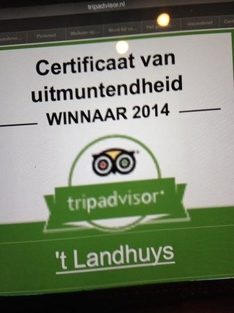 't Landhuys : met dank aan allen die het restaurant goed vinden