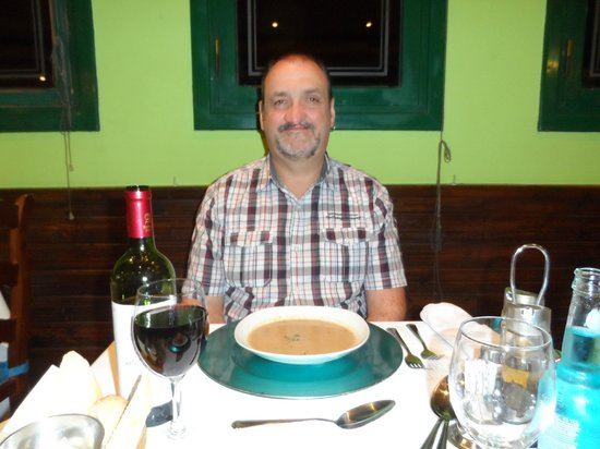 Showboat: My lovely hubby Rob with his starter (soup of the day) which he said was delicious ,