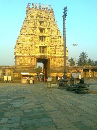 Chennakesava Temple: The evning sun shines on the Gopuram