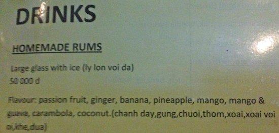 Coco Bar: Homemade rum list