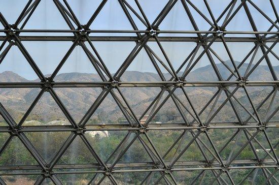 Biosphere 2: looking out biosphere toward mountains