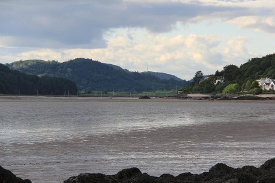 Roughfirth House: nearby shell beach and view of B&