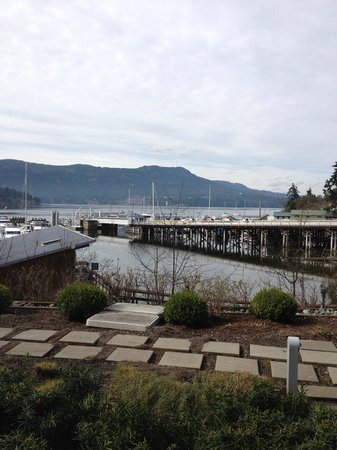 Brentwood Bay Resort & Spa: Patio View - you can see the bay.  There is a BC Ferry terminal there but you hardly notice it.