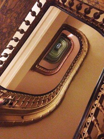 "Radisson Martinique on Broadway : The ""vertigo stairs"" 16-story winding oval staircase."
