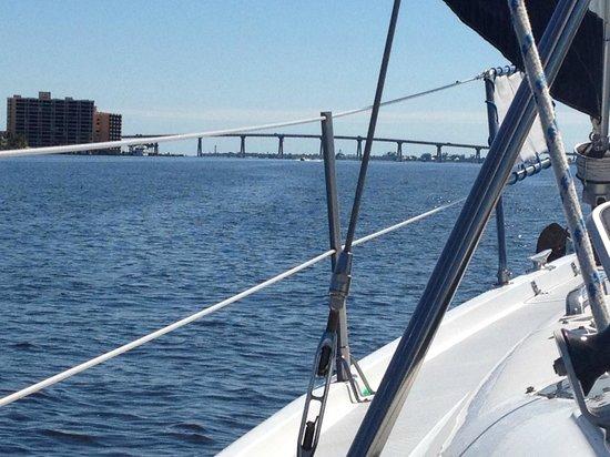 Magic Wind Adventure Sailing: Sailing under Sanibel Bridge