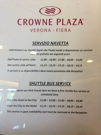 Crowne Plaza Hotel Verona - Fiera: The city shuttle timetable as at May 2014