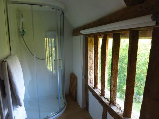 High House Farm: SHOWER ROOM WITH ANCIENT WINDOW