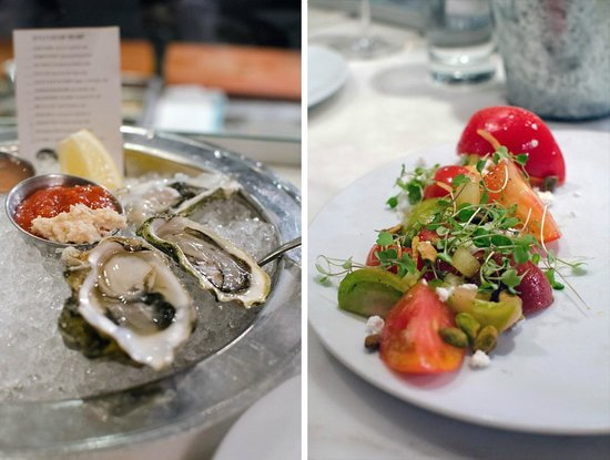 B & G Oysters : Oysters / Heirloom tomato salad