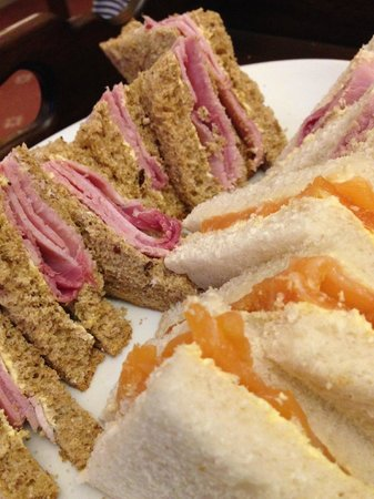 Afternoon Tea ham and salmon sandwiches at the Bailbrook Lodge