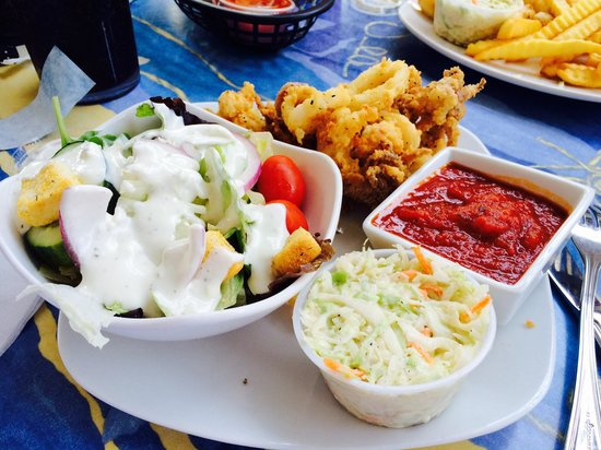 Village Fish Market Restaurant and Lounge: Calamari, slaw and side salad