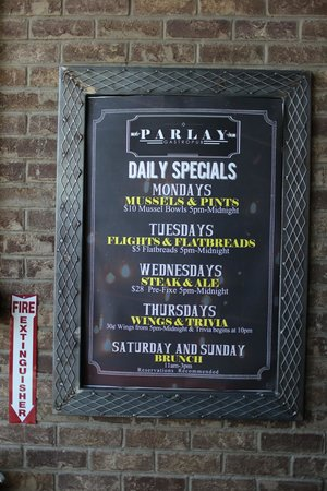 Parlay Gastropub: Food Specials Monday through Thursday from 5pm-Midnight