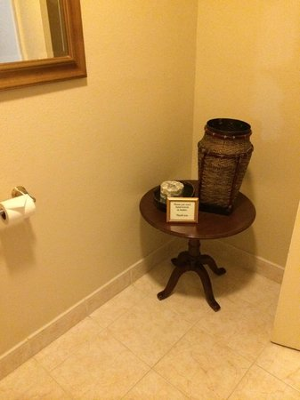 Cardinal Hotel: In the corner, a basket to put used wash cloths away.