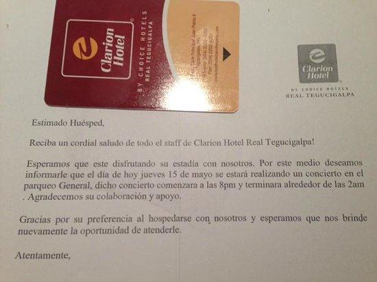Clarion Hotel Real Tegucigalpa : Carta de concierto