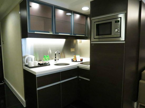 Room With Kitchen Facilities Microwave Oven Refrigerator